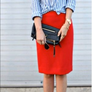 J. Crew Red Wool No. 2 Pencil Skirt Size 4